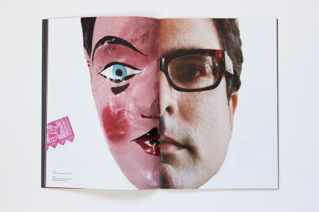 Double page spread featuring papier-mâché mask, Oaxaca, Mexico and Bernard Samson's Face from ' Secret Assignment 2' by Arnold Schwartzman. Baseline 59, 2011.