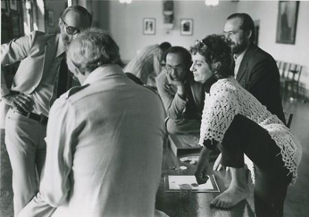 Muriel Cooper in conversation at MIT, 1970s.
