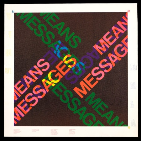 Muriel Cooper and Ron MacNeil, Messages and Means course poster, designed and printed at the Visible Language Workshop, MIT, c. 1974.