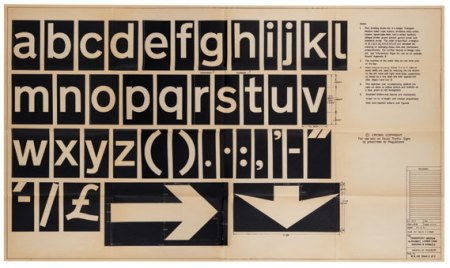 Transport on a dye-line information sheet, 1967. Jock Kinneir, Margaret Calvert. Kinneir Calvert Associates.